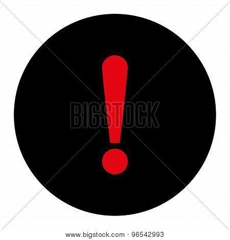 Exclamation Sign flat intensive red and black colors round button