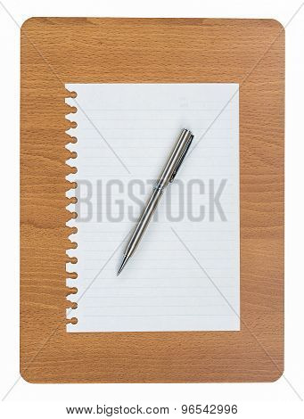 Wood Board With Blank White Paper And Ballpoint Pen