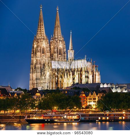 Night View Of Cologne Cathedral, Germany. Europe