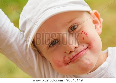 Summer Close-up Portrait of Cute Child Boy Smiling, with Dirty Face after Eating Raspberry in a garden