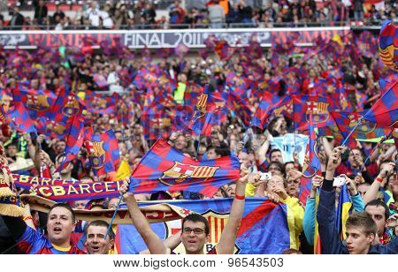 LONDON, ENGLAND. May 28 2011: Fans of Barcelona during the 2011UEFA Champions League final between Manchester United and FC Barcelona, at Wembley Stadium