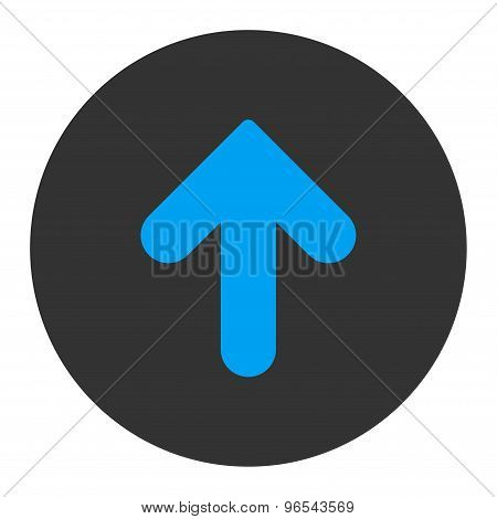 Arrow Up flat blue and gray colors round button