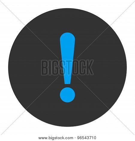Exclamation Sign flat blue and gray colors round button