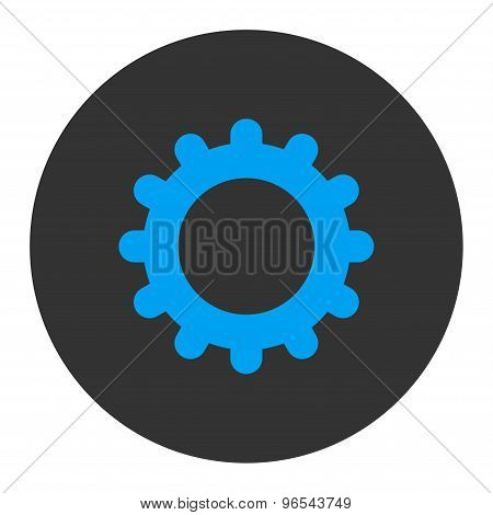 Gear flat blue and gray colors round button