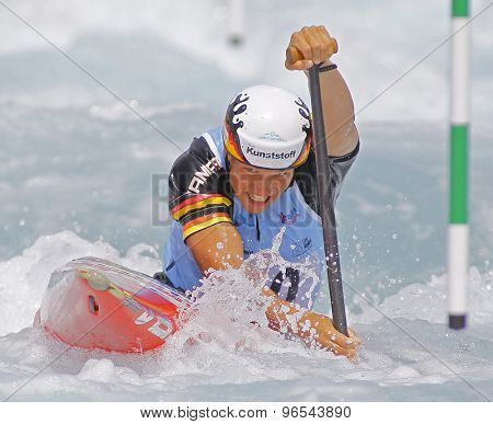 LONDON, ENGLAND - JUNE 06 2014 Anton Franz of Germany competes at the ICF Canoe Slalom held at the Lea Valley White Water centre Waltham Abbey.