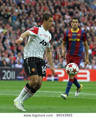 LONDON, ENGLAND. May 28 2011: Manchester's forward Javier Hernandez during the 2011UEFA Champions League final between Manchester United and FC Barcelona