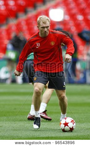 LONDON, ENGLAND. May 27 2011: Manchester's midfielder Paul Scholes during the official training session for the 2011UEFA Champions League final between Manchester United and FC Barcelona