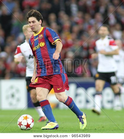 LONDON, ENGLAND. May 28 2011: Barcelona's forward Lionel Messi during the 2011UEFA Champions League final between Manchester United and FC Barcelona, at Wembley Stadium