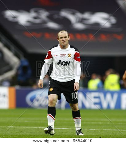 LONDON, ENGLAND. May 28 2011: Manchester's forward Wayne Rooney during the 2011UEFA Champions League final between Manchester United and FC Barcelona, at Wembley Stadium