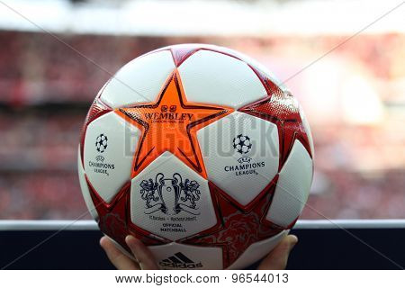 LONDON, ENGLAND. May 28 2011: The Match ball for the 2011UEFA Champions League final between Manchester United and FC Barcelona, at Wembley Stadium