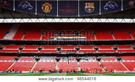 LONDON, ENGLAND. May 27 2011:   during the build up to the 2011UEFA Champions League final between Manchester United and FC Barcelona, at Wembley Stadium