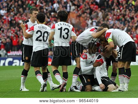 LONDON, ENGLAND. May 28 2011: Manchester celebrate their goal during the 2011UEFA Champions League final between Manchester United and FC Barcelona, at Wembley Stadium