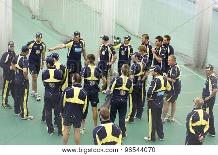 CHESTER LE STREET, ENGLAND. JULY 06 2012: A general view of the Australian team during the official training and net session prior to the 4th one day international between England and Australia