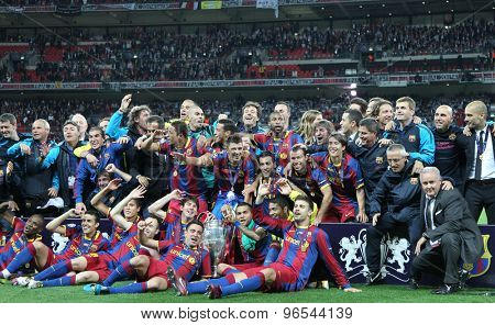 LONDON, ENGLAND. May 28 2011: Barcelona with the trophy for winning the 2011UEFA Champions League final between Manchester United and FC Barcelona, at Wembley Stadium