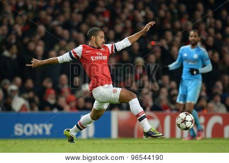 LONDON, ENGLAND - Nov 26 2013: Arsenal's Theo Walcott during the UEFA Champions League match between Arsenal and Olympique de Marseille, at The Emirates Stadium