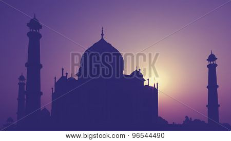 Vintage Retro Toned Silhouette Of Taj Mahal At Sunrise, India.