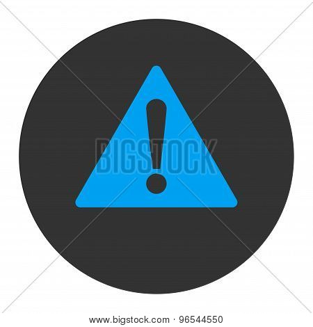 Warning flat blue and gray colors round button