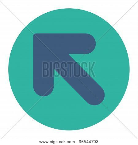 Arrow Up Left flat cobalt and cyan colors round button