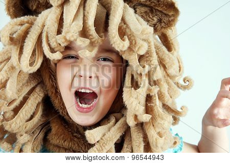 Little Girl Playing Lion