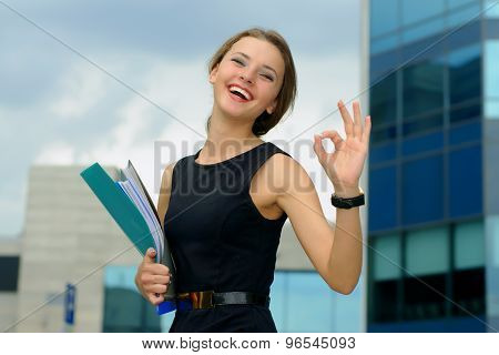Business Woman Shows That Everything Is Ok