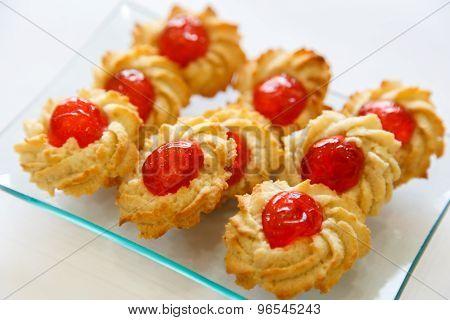 Pastry Cookies With Cherries