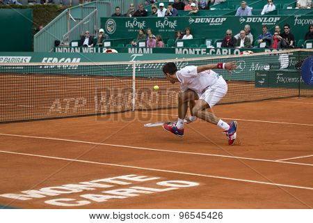 MONTE CARLO, MONACO. APRIL 18 2012 Novak Djokovic (SRB) in action during the second round match between Novak Djokovic (SRB) and Andreas Seppi (ITA)  at the ATP Monte Carlo Masters  .