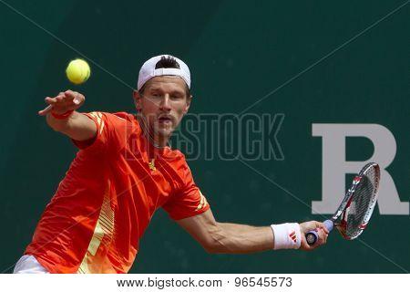 MONTE CARLO, MONACO. APRIL 18 2012 Jurgen Melzer (AUT) in action during the second round match between Julien Benneteau (FRA) and Jurgen Melzer (AUT)  at the ATP Monte Carlo Masters  .