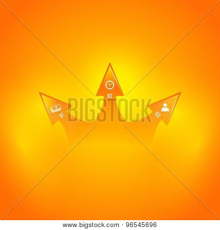 Arrow Business Infographics Orange Background