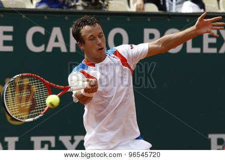 MONTE CARLO, MONACO. APRIL 16 2012  Philipp Kohlschreiber (GER) in action during the first round match between Guilaume Rufin (FRA) and Philipp Kohlschreiber (GER) at the ATP Monte Carlo Masters