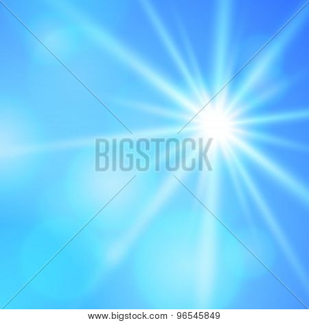 Blur Blue Background Bright Star Shining Rays