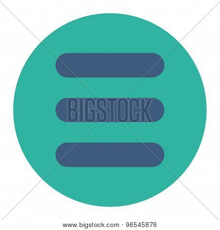 Stack flat cobalt and cyan colors round button