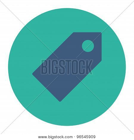 Tag flat cobalt and cyan colors round button