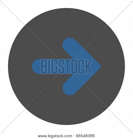 Arrow Right flat cobalt and gray colors round button