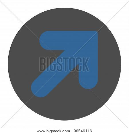 Arrow Up Right flat cobalt and gray colors round button