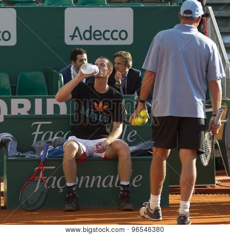 MONTE CARLO, MONACO. APRIL 20 2012 Andy Murray (GBR) and his coach Ivan Lendl during a warm up session ) at the ATP Monte Carlo Masters  .