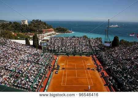MONTE CARLO, MONACO. APRIL 21 2012 A general view of the club during the semi final singles match between Novak Djokovic (SRB) and Tomas Berdych (CZE) at the ATP Monte Carlo Masters  .
