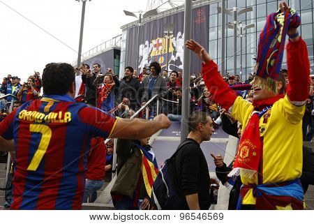 LONDON, ENGLAND. May 28 2011:  Barcalona fans prior to the 2011UEFA Champions League final between Manchester United and FC Barcelona, at Wembley Stadium