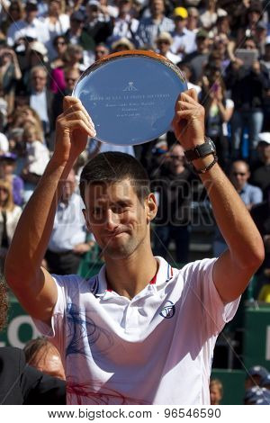 MONTE CARLO, MONACO. APRIL 22 2012 Novak Djokovic (SRB) with his trophy for runner up in the final singles  at the ATP Monte Carlo Masters