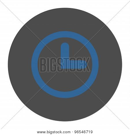 Clock flat cobalt and gray colors round button