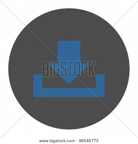 Download flat cobalt and gray colors round button