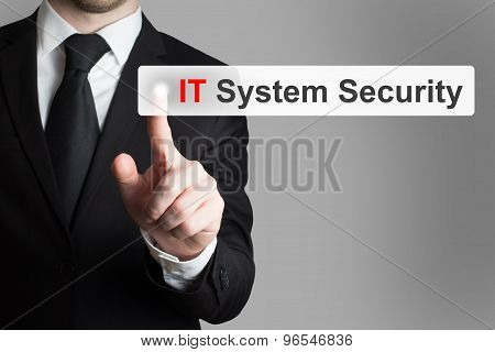 Businessman Pushing Touchscreen Button It System Security