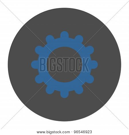 Gear flat cobalt and gray colors round button