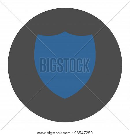 Shield flat cobalt and gray colors round button