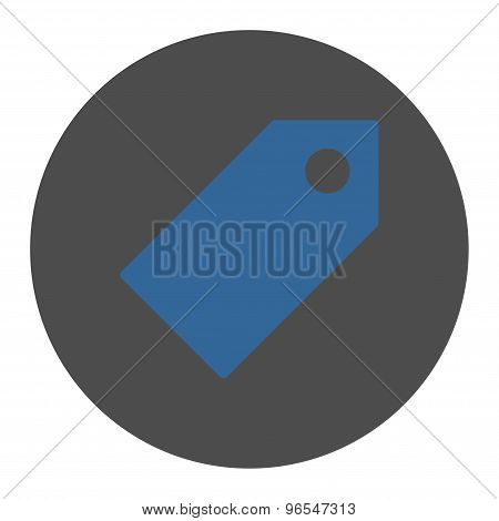 Tag flat cobalt and gray colors round button