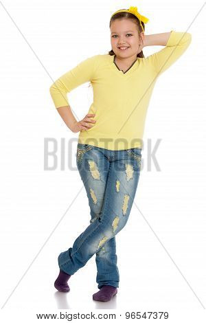 The girl in frayed jeans