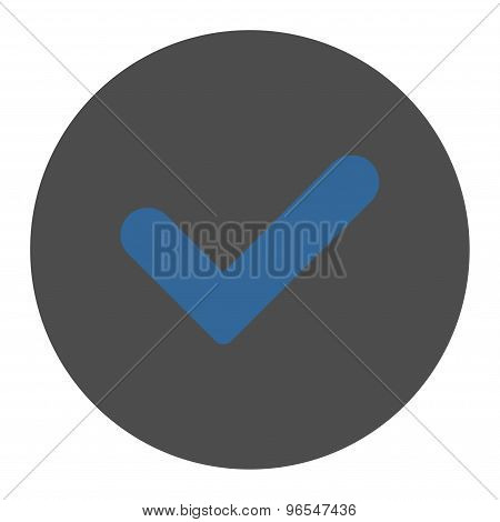 Yes flat cobalt and gray colors round button