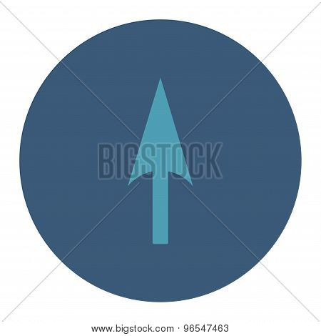 Arrow Axis Y flat cyan and blue colors round button
