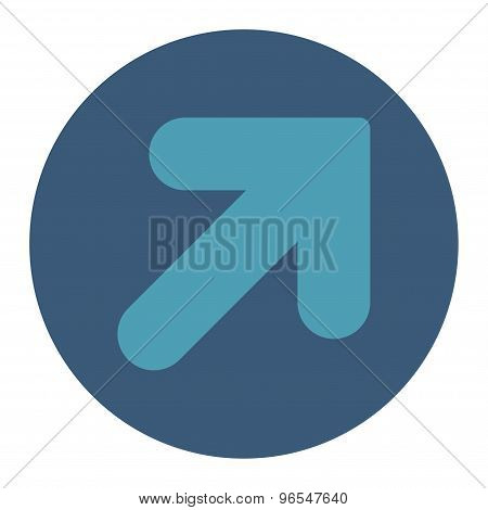 Arrow Up Right flat cyan and blue colors round button