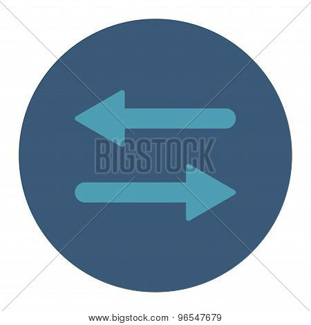 Arrows Exchange Horizontal flat cyan and blue colors round button