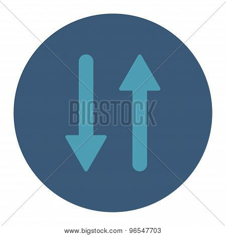 Arrows Exchange Vertical flat cyan and blue colors round button